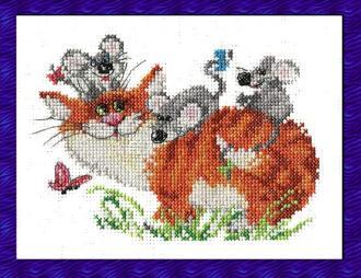 Вышивка крестом кот и мыши